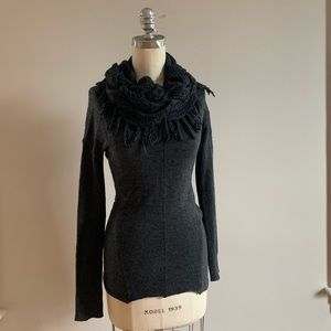 All Saints S Gray Cowlneck Sweater